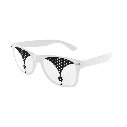 Modern  Black Background Archway Dot Cut Custom Sunglasses (Perforated Lenses)