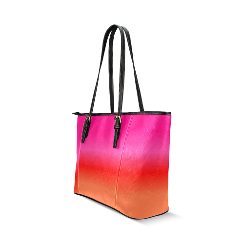 Pink, Red and Orange Gradient Leather Tote Bag/Large (Model 1640)