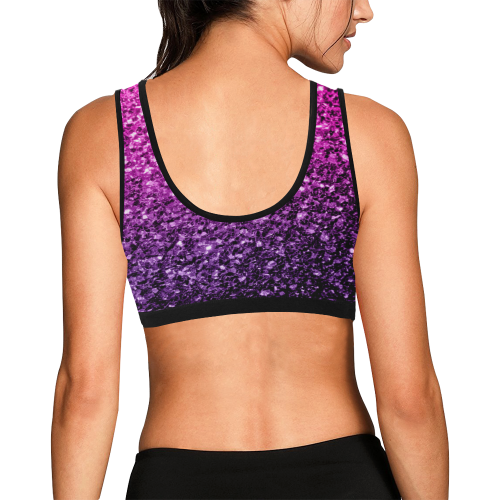 2b433f8ca0344 ... Beautiful Purple Pink Ombre glitter sparkles Women s All Over Print  Sports Bra (Model ...