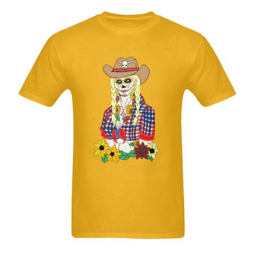 Cowgirl Sugar Skull Gold Men's Heavy Cotton T-Shirt - 5000