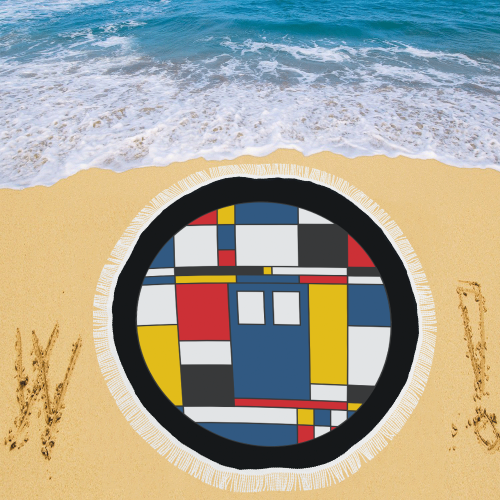 "De Stijl Love The Blue Police Public Call Box 3 Circular Beach Shawl 59""x 59"""