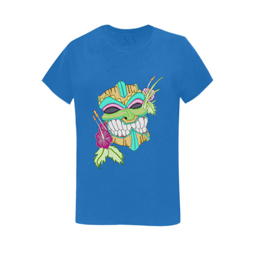 Tropical Tiki Mask Royal Blue Women's Heavy Cotton Short Sleeve T-Shirt - 5000L