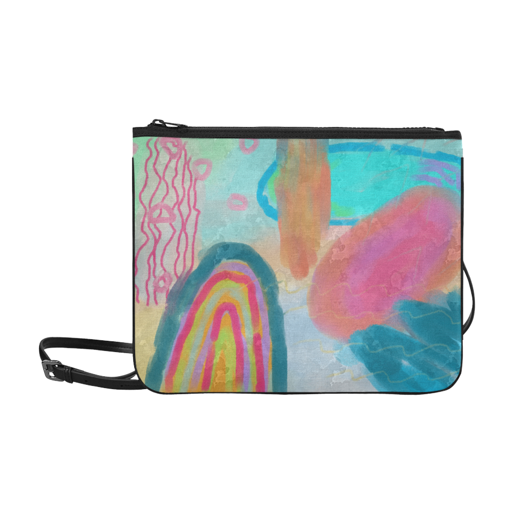 Funky Abstract Art Convertible Wristlet Clutch