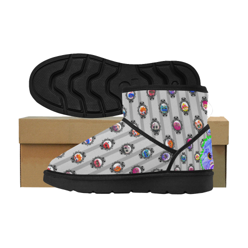 Gray Striped Twitchy Snowies Low Top Unisex Snow Boots (Model 049)