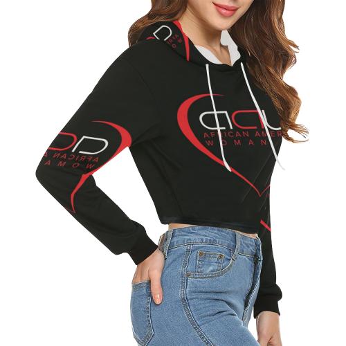 d0c56993c53dc ... AAW101 Black Crop Top Sweater All Over Print Crop Hoodie for Women  (Model H22) ...
