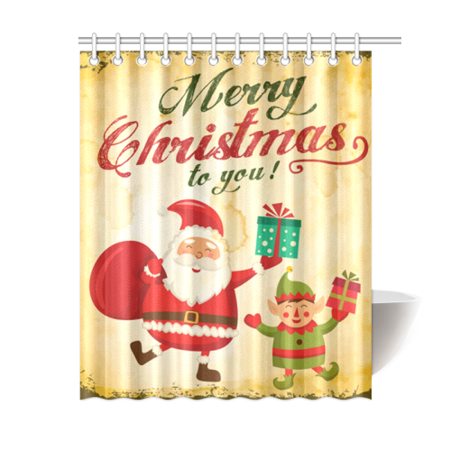Vintage Merry Christmas Daning Santa And Elf Shower Curtain 60x72