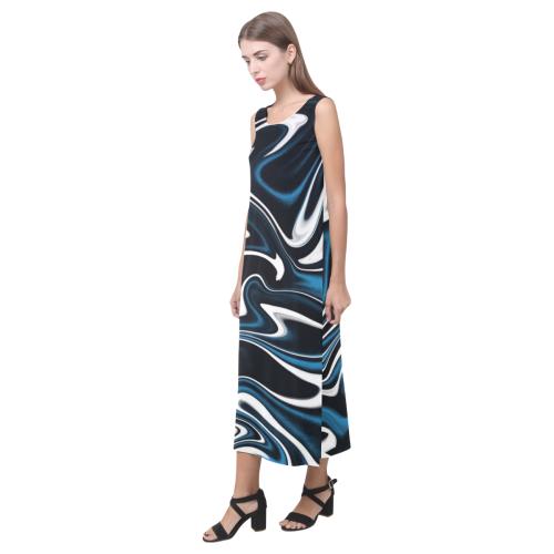 Blue, Black and White Estonia Swirls 4044 Phaedra Sleeveless Open Fork Long Dress (Model D08)