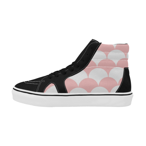 Abstract  pattern - pink and white. Women's High Top Skateboarding Shoes/Large (Model E001-1)