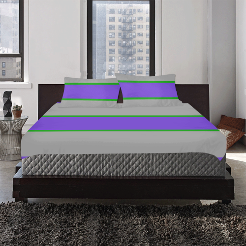 Purple, Gray and Green Stripes 3-Piece Bedding Set
