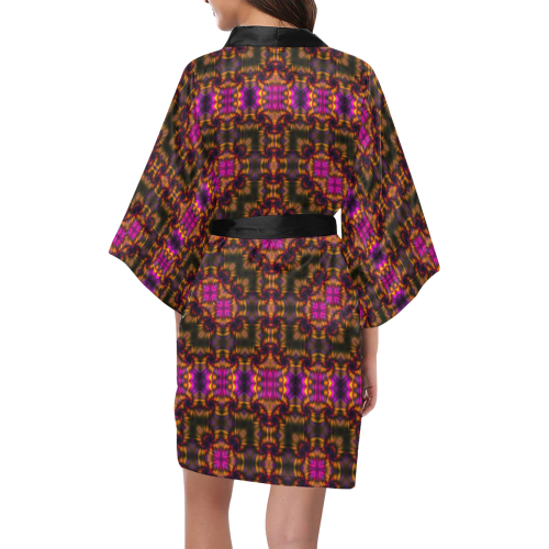 Cosmic Space Hologram Blacklight Rave Mandala Silk Kimono Robe