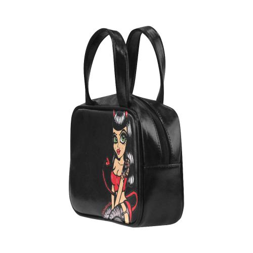 Miss Devil Doll by Skinderella Leather Top Handle Handbag (Model 1662)