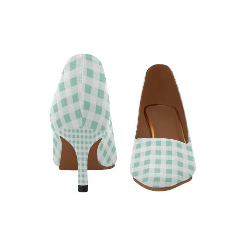 07fbf694d7f Mint Green Gingham Women's Pointed Toe Low Heel Pumps (Model 053) | ID:  D3456552