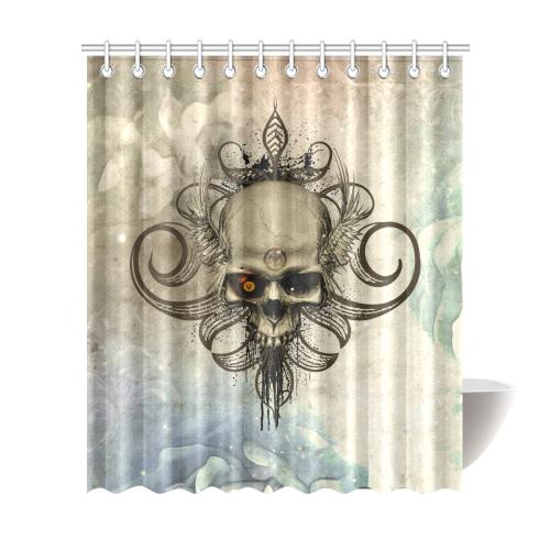 Creepy Skull Vintage Background Shower Curtain 72x84