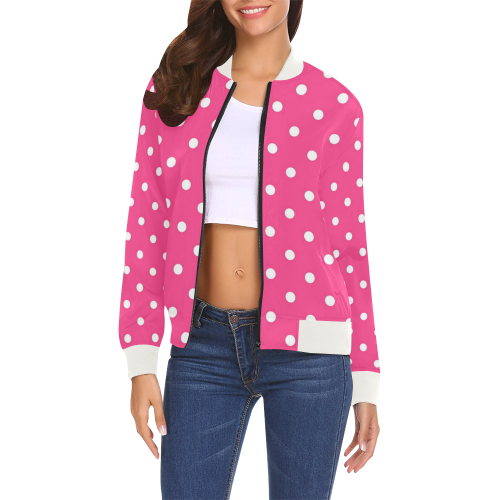 1a598fa8f7308 Hot Pink White Dots All Over Print Bomber Jacket for Women (Model H19)