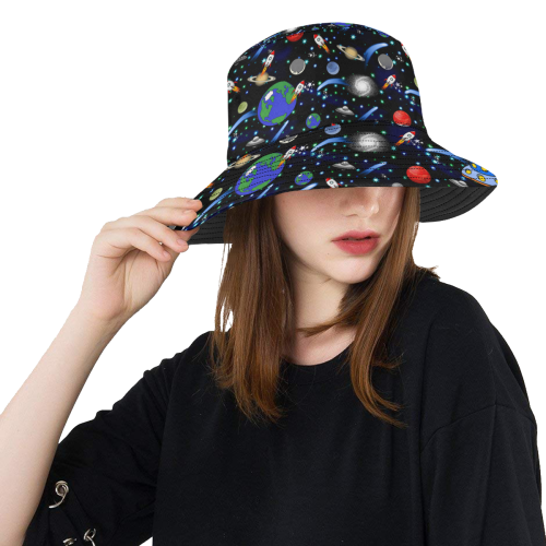 712c50c1c Galaxy Universe - Planets, Stars, Comets, Rockets All Over Print Bucket Hat