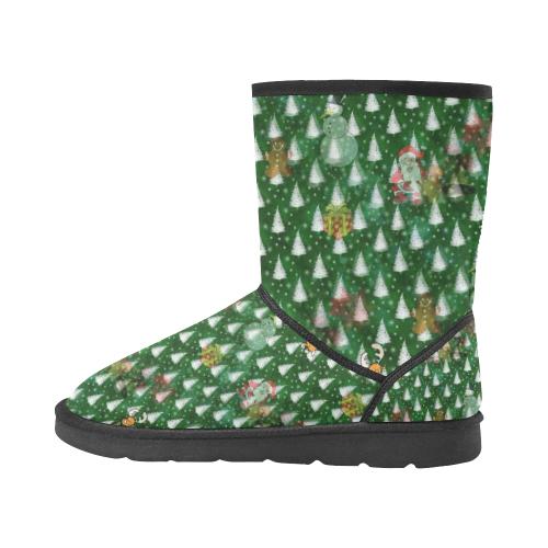 Christmas by Nico Bielow Custom High Top Unisex Snow Boots (Model 047)
