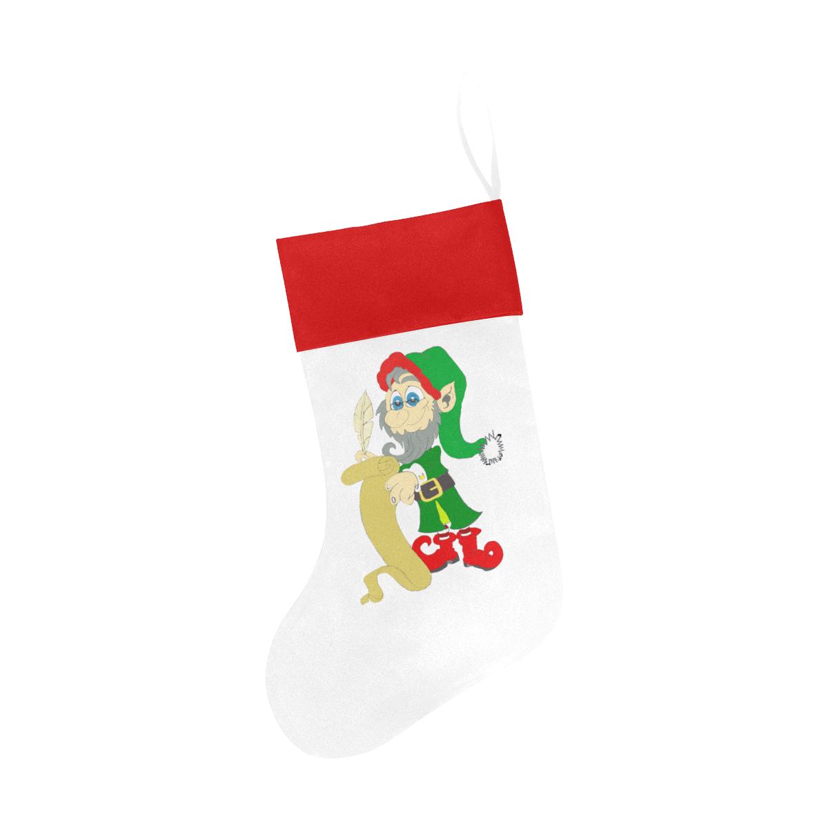 Christmas Elf White/Red Christmas Stocking