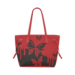 Animals Nature - Splashes Tattoos with Butterflies Clover Canvas Tote Bag (Model 1661)