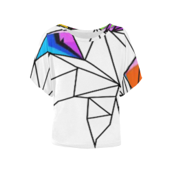 Abstract Women's Batwing-Sleeved Blouse T shirt (Model T44)