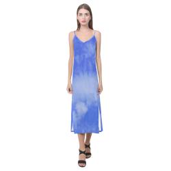 Blue Clouds V-Neck Open Fork Long Dress(Model D18)