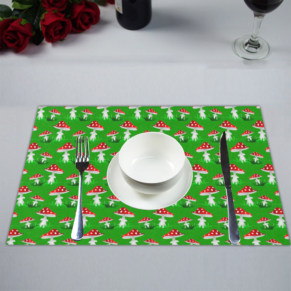 Toadstool red pattern Placemat 14'' x 19'' (Six Pieces)