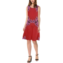 Red Pink Mauve Hearts and Lace Fractal Abstract 2 Sleeveless Splicing Shift Dress(Model D17)
