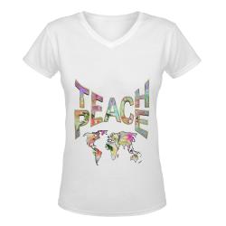 Teach Peace by Just kidding Women's Deep V-neck T-shirt (Model T19)