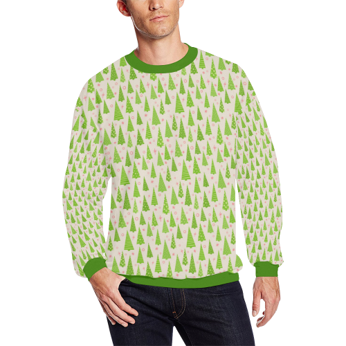 Christmas Trees Forest All Over Print Crewneck Sweatshirt for Men/Large (Model H18)