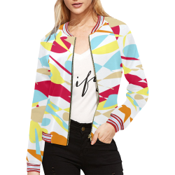 When confused abstract white All Over Print Bomber Jacket for Women (Model H21)