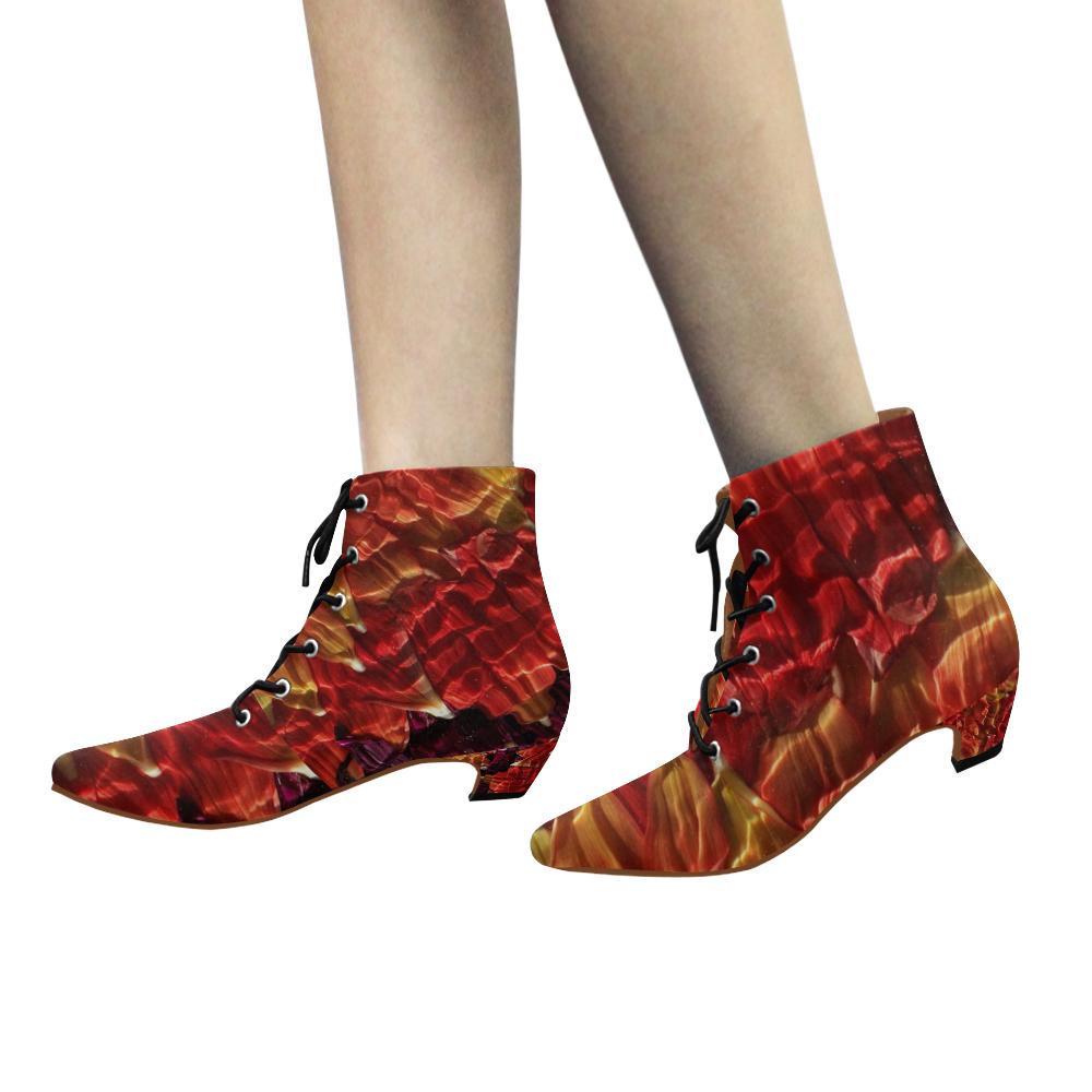 Muscled Petals Women's Pointed Toe Low Heel Booties (Model 052)