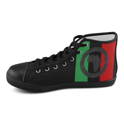African Bulls Eye on Black Hi Top Mens Sneakers on Black soles Men's High Top Canvas Shoes (Model 002)