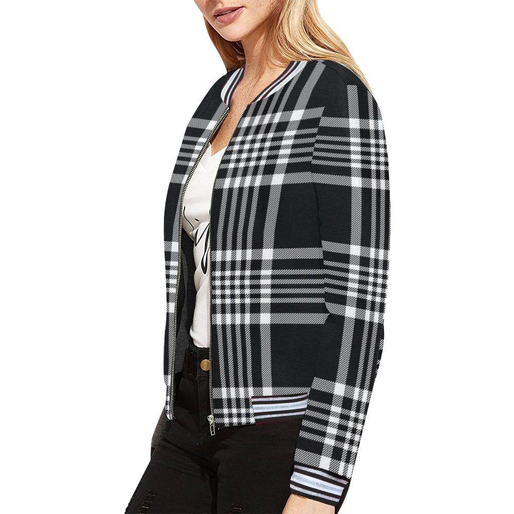 stripe bw All Over Print Bomber Jacket for Women (Model H21)