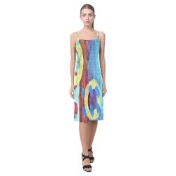 Funky Abstract Art Sundress Alcestis Slip Dress (Model D05)
