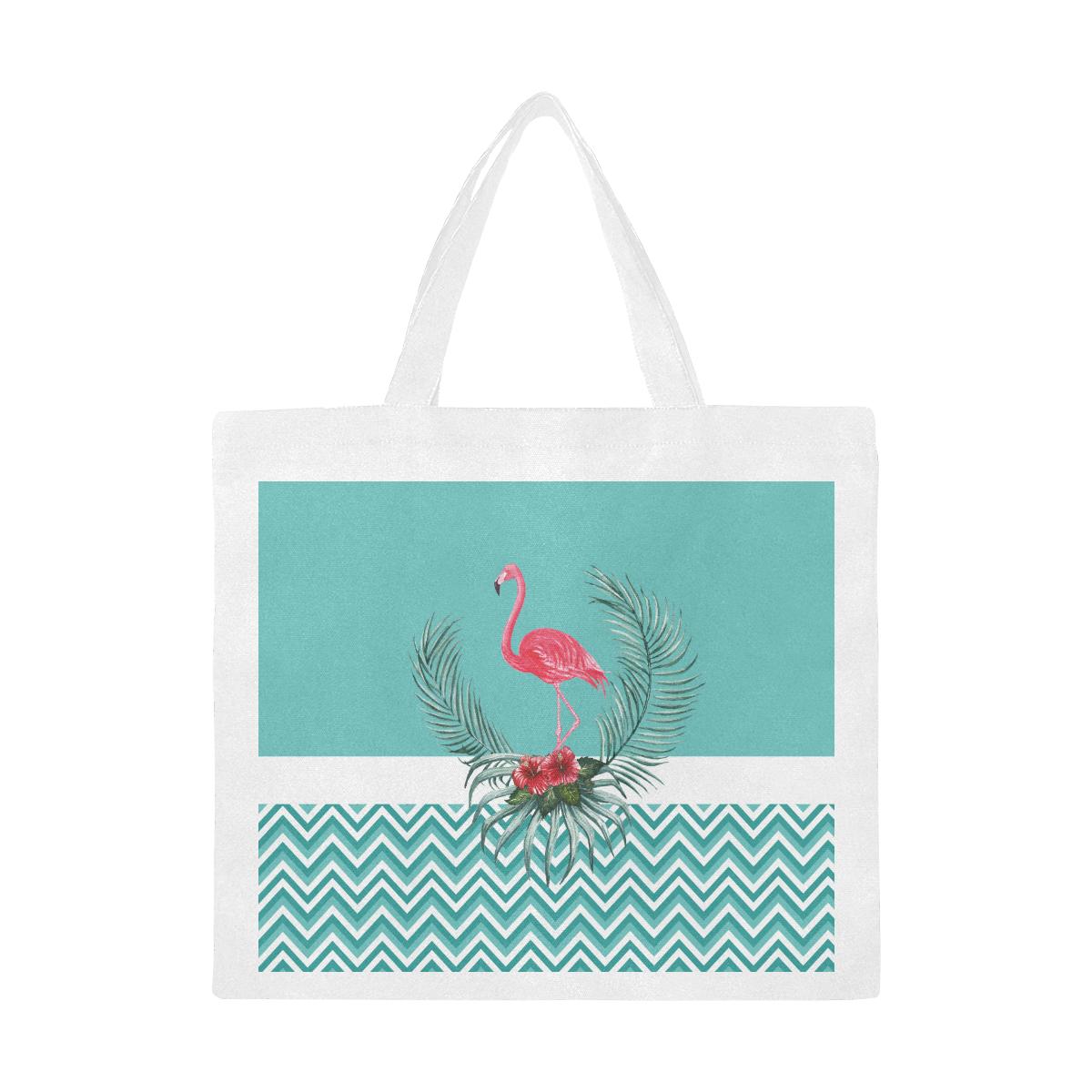 Retro Flamingo Chevron Canvas Tote Bag/Large (Model 1702)
