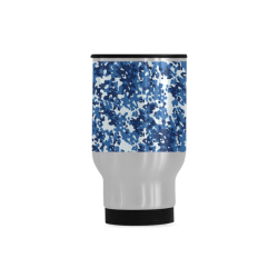 Digital Blue Camouflage Travel Mug (Silver) (14 Oz)