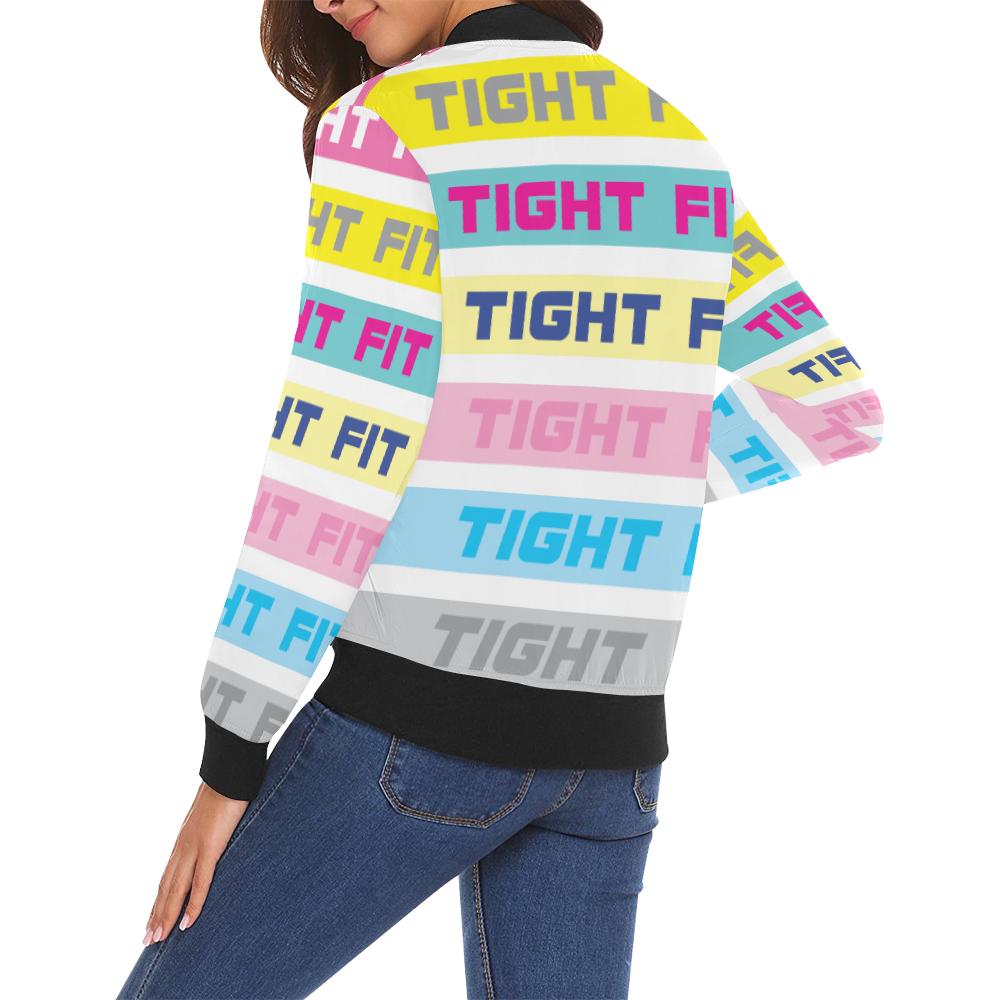 TF Colour Bars 2 All Over Print Bomber Jacket for Women (Model H19)