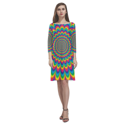 Crazy Psychedelic Flower Power Hippie Mandala Rhea Loose Round Neck Dress(Model D22)