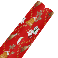 "Christmas Gingerbread Snowman and Santa Claus Red Gift Wrapping Paper 58""x 23"" (2 Rolls)"