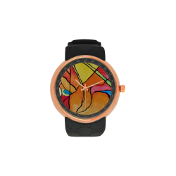 ABSTRACT Men's Rose Gold Resin Strap Watch(Model 308)