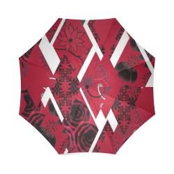 red roses and diamonds design umbrella Foldable Umbrella (Model U01)