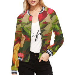 FLORAL DESIGN 10 All Over Print Bomber Jacket for Women (Model H21)