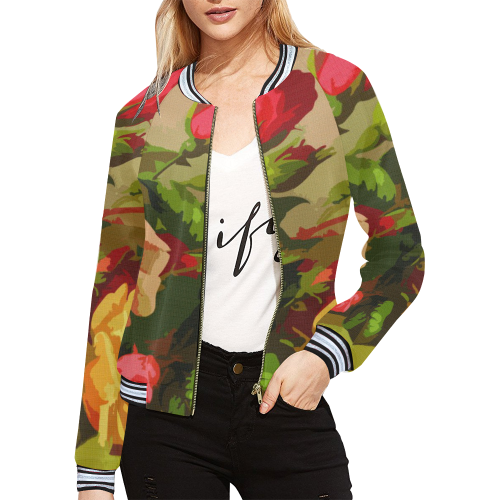 FLORAL DESIGN 10 All Over Print Bomber Jacket for Women (Model H21)