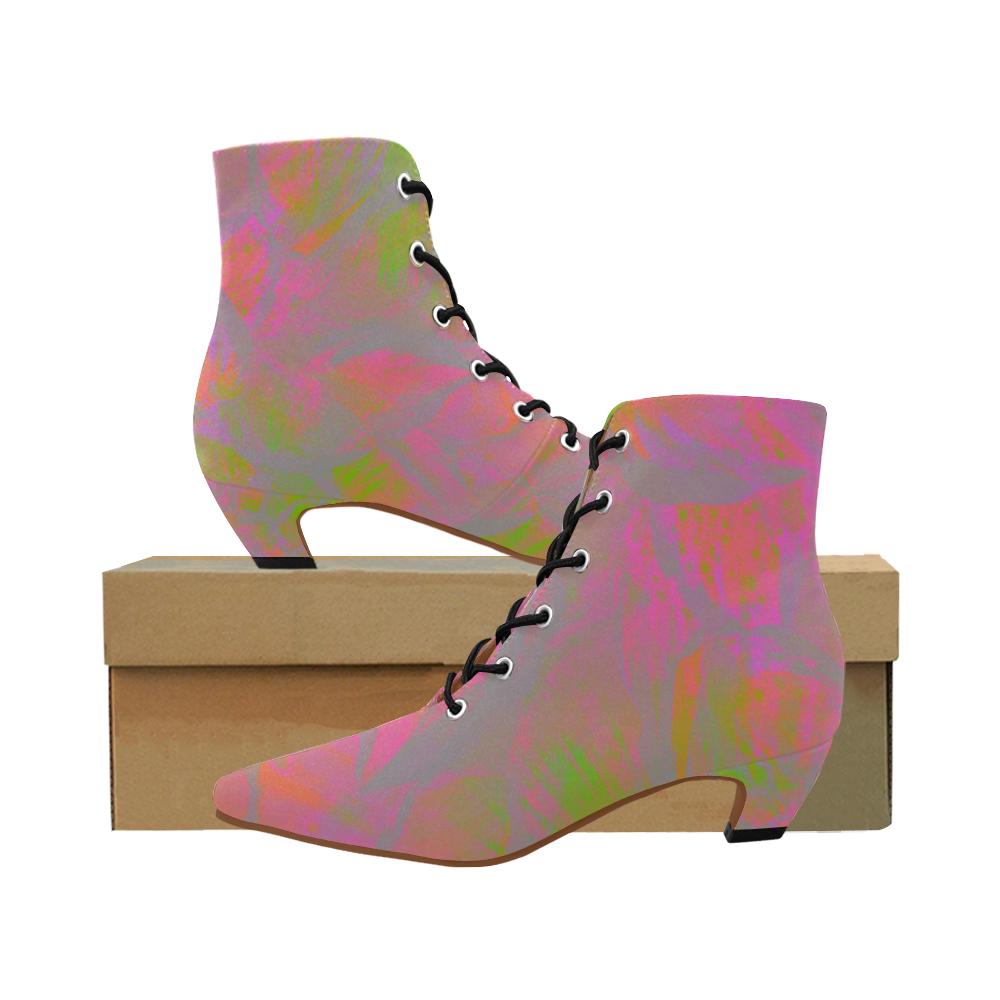 Maroon Vibe Crew Women's Pointed Toe Low Heel Booties (Model 052)