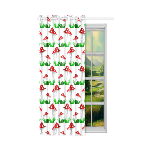 """Toadstool red pattern New Window Curtain 50"""" x 84""""(One Piece)"""