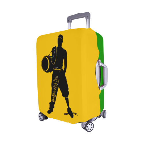 "Aziatic Yellow & Green Luggage Cover/Medium 22""-25"""