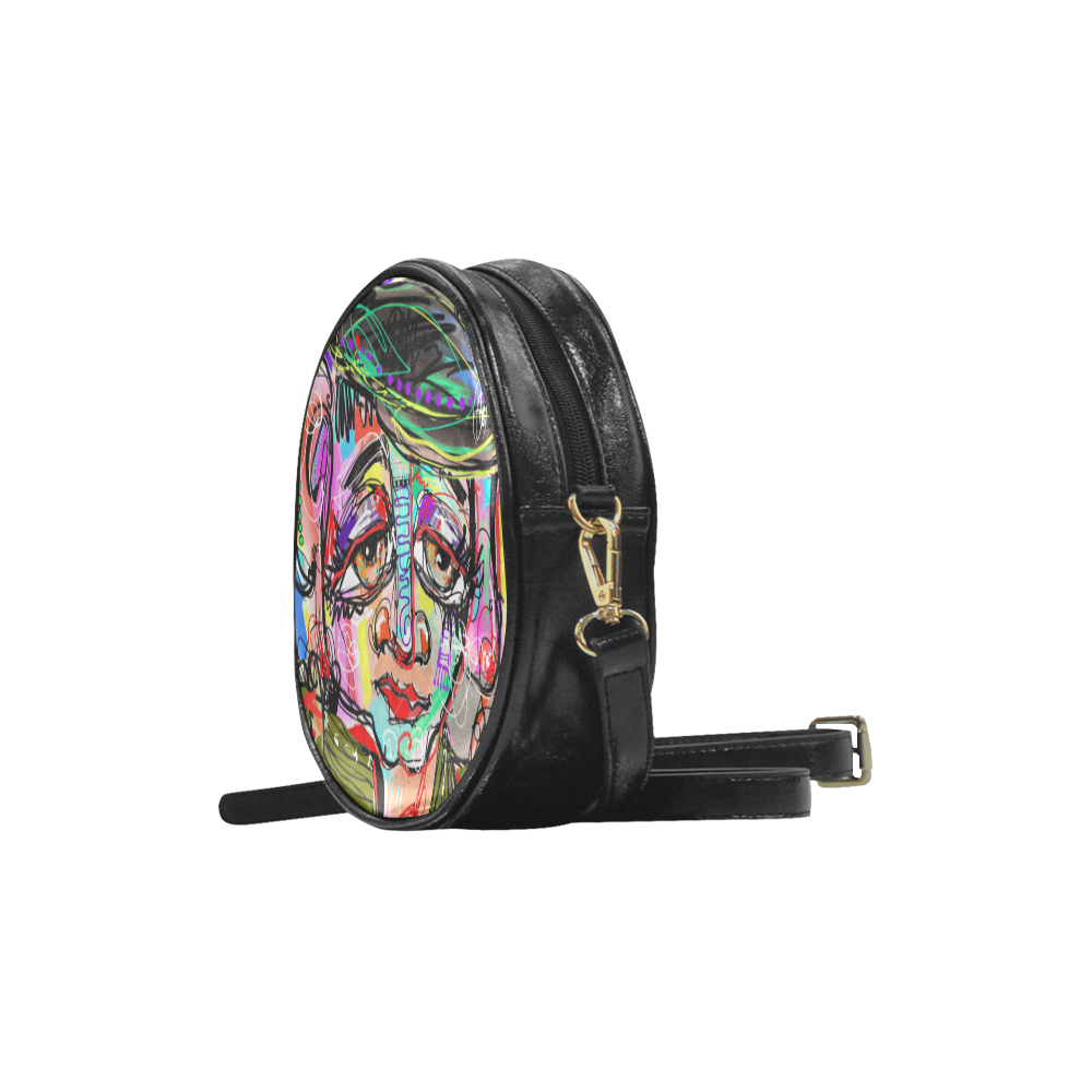 Contemporary Art Human Face Round Sling Bag (Model 1647)