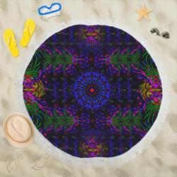 """Birth of a rainbow Circular Beach Shawl 59""""x 59"""""""
