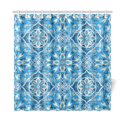 "Elaborate Elegant Abstract Mandala in Shades of Blue Shower Curtain 72""x72"""