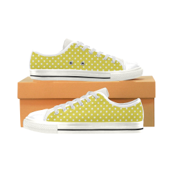 Yellow Polka Dot Low Top Canvas Shoes for Kid (Model 018)