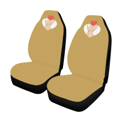 Hand With Finger Heart / Gold Car Seat Cover Airbag Compatible (Set of 2)
